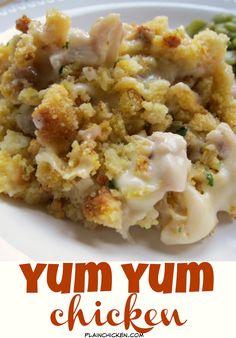Yum Yum Chicken - creamy chicken casserole topped with cornbread stuffing. Great quick weeknight casserole recipe! Kid Friendly!