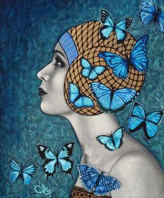 Blue butterflies - ©Celine Excoffon - http://celine-excoffon.blogspot.com/2011/04/les-papillons-bleus.html