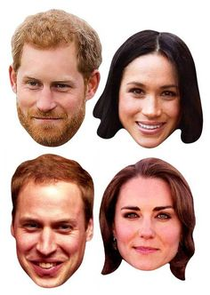 Royal Wedding 2018 Face Masks - Young Couples 4 Pack inc Harry & Meghan. Free UK delivery from Starstills.