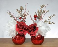 floral arrangements for christmas holiday | Red Rose and White Feather Christmas Holiday ... | Flower arrangements