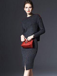 Brief O-Neck Long Sleeve Woolen Two Piece Bodycon Dress 3ddd28dbe13c3