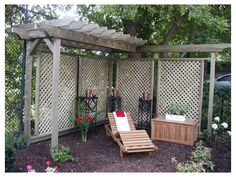 I love the idea of a partial pergola to add some privacy to a deck or yard