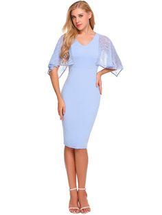 2017 New Women Cape Sleeve Lace Patchwork Pencil Dress
