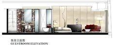 Guestroom elevation sketch for Four Seasons Guangzhou, designed by HBA/Hirsch Bedner Associates.