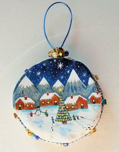 Happy Christmas night village tree decoration by ShePaintsSeaglass