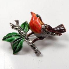 Stunning 1950s Enamelled & Marcasite Robin Bird Brooch