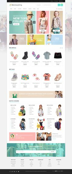 Everthing is premium Magento theme with advanced admin module. Its extremely customizable, easy to use and fully responsive. Suitable for every type of store. Website Layout, Web Layout, Layout Design, Page Design, Design Web, Kids Sites, Ecommerce Web Design, Magento Design, Fashion Design Template