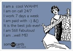 I am a cool WAHM I am on call 24/7 I work 7 days a week I am paid with :-) &() It is the best job ever! I am Still Fabulous! I am ...well ME!
