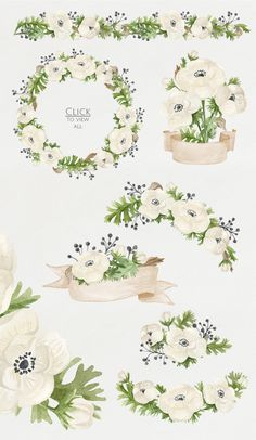 Watercolor anemones. Floral set by NataliVA on @creativemarket: All floral elements painted by hand with watercolors and will be perfect for greeting cards, wedding invitations, printing on fabric, branding and more. Floral Watercolor, Free Watercolor Flowers, Watercolor Paintings, Watercolors, Floral Border, Motif Floral, Wedding Cards, Wedding Invitations, Invites