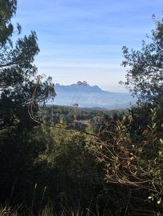 National Park L'Obac close to Terrassa with a view at the Montserrat mountains.