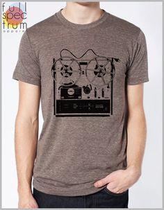 123b357508ae Men s Vintage Music T Shirt Reel to Reel Graphic Tee Shirt Dad Shirt  Musician Band Tshirt Hipster Mu