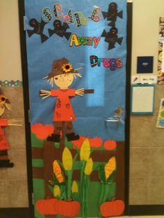 """Red Ribbon Week - """"Scare"""" Away Drugs (those are my pinterest inspired scarecrows)"""