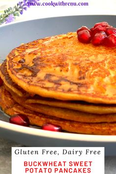 Buckwheat Sweet Potato Pancakes are 4 ingredients Gluten free pancakes made without any leavening agent, that is it does not have any baking powder or baking soda. and are perfect for breakfast or lunch. Best Breakfast Recipes, Brunch Recipes, Pancake Recipes, Vegan Breakfast, Potato Recipes, Breakfast Ideas, Gluten Free Pancakes, Gluten Free Breakfasts, Healthy Breakfasts