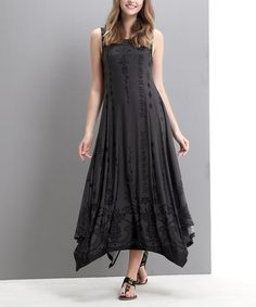 Loving this Charcoal & Black Ornate Handkerchief Maxi Dress on #zulily! #zulilyfinds