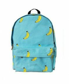 Washed  Canvas Bananas Print Backpack in Blue