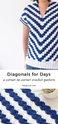 This corner to corner, or c2c crochet top uses stripes to make chevrons and makes a striking addition to any wardrobe! | www.1dogwoof.com
