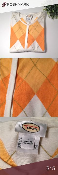 Talbots Orange Argyle Sweater Talbots Orange Argyle Sweater. Size L and is 100% cotton. Very well made and cute! Talbots Sweaters