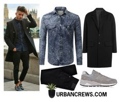 """""""URBANCREWS Mens Button Down Denim Shirt"""" by urbancleo ❤ liked on Polyvore featuring AMI, Levi's, New Balance, women's clothing, women's fashion, women, female, woman, misses and juniors"""