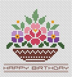 Birthday Card Flowers cross stitch pattern, You can make very unique patterns for materials with cross stitch. Cross stitch designs may almost amaze you. Cross stitch beginners can make the designs they desire without difficulty. Diy Birthday Card, Birthday Cards For Women, Birthday Basket, 50th Birthday, Merry Christmas Greetings Quotes, Christmas Wishes, Easter Images Clip Art, Christmas Images Wallpaper, Christmas Pictures