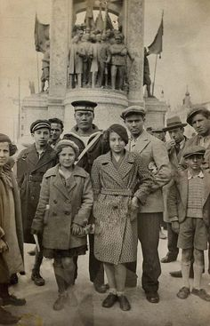 In front of the Monument for the Republic, on Taksim Meydanı (Taksim Square, Istanbul).  Picture taken between 1927-1930.