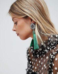 Asos Jewel Flower And Tassel Earrings