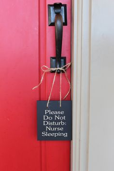 Please Do Not Disturb Nurse Sleeping wood sign by morethanletters, $13.95