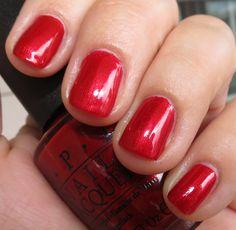 OPI Danke-Shiny Red Opi Red Nail Polish, Shellac Nails, Nail Polish Collection, Fall Makeup, Pretty Nails, Swatch, Blush, Beauty, Cute Nails