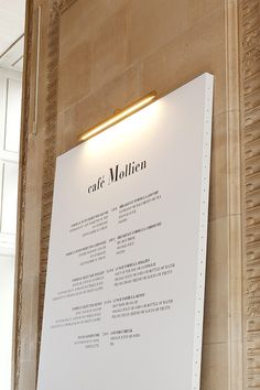 French designer Mathieu Lehanneur just installed these gorgeous high lamps at the Louvre's Café Mollien in Paris for their new makeover. The venue has reopened after a month of work and f Wayfinding Signage, Signage Design, Branding Design, Menu Signage, Hotel Signage, Stationery Design, Restaurant Menu Design, Restaurant Branding, Restaurant Restaurant
