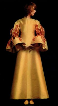 1969 Lanvin 60s 70s designer couture modern unique style shift gown evening dress embroidered sleeves gold silk red accents color photo vintage fashion style model