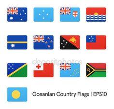 Banderas de Oceanía. Conjunto de iconos de vector — Vector de stock