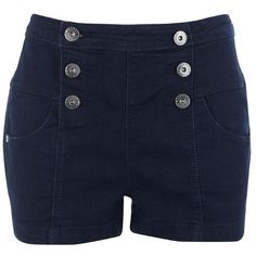 Lipsy Naval High Waist Denim Shorts ($55) ❤ liked on Polyvore