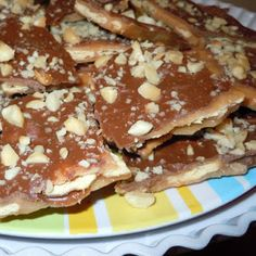 Ingredients Sweet & Saltines   Cooking spray  35 to 40 saltine crackers  2 sticks (1 cup) butter  1 cup light brown sugar  8 ounces semisweet chocolate chips (about 1⅓ cups)  1 cup chopped nuts, optional (pecans, peanuts, walnuts)
