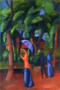Walking in the Park, 1914, August Macke