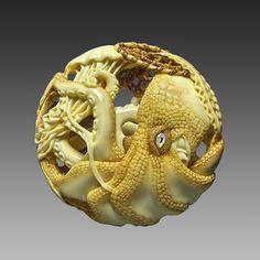 "ronbeckdesigns:  "" netsuke~Natasha Ryusa   carved octopus  """