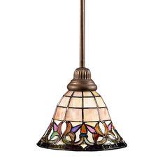 Shop Portfolio Flora 8.5-in W Art Nouveau Bronze Mini Pendant Light with Tiffany-Style Glass Shade at Lowes.com