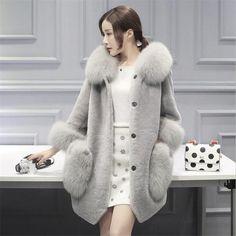 New Mink Coats Women fur Winter Jackets Imitation fox fur Long Hooded Large Pocket Fashion Plush Casual Women Size Fur Warm Coat