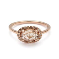 Pavé Amulet Ring - Copper Rutilated Quartz & Champagne Diamond – Anna…