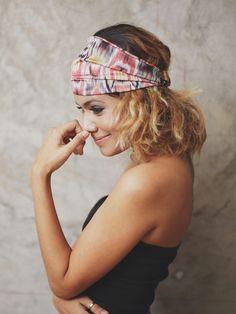 Flossy Peacock - Peach pink - Hippie Elastic Bandana /Summer Headband Collection/ Peach pink Hair wrap, BDN-G-13005-LL on Etsy, $12.95