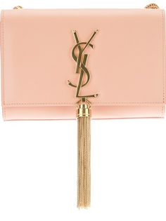 2013 SAINT LAURENT Small 'Cassandre' Tassel Shoulder Bag Blush calf leather small 'Cassandre' bag from Saint Laurent featuring a front flap, a signature gold-tone YSL logo on the front with a hanging gold-tone tassel, a magnetic snap closure, an inner slot compartment and a gold-tone chain shoulder strap.