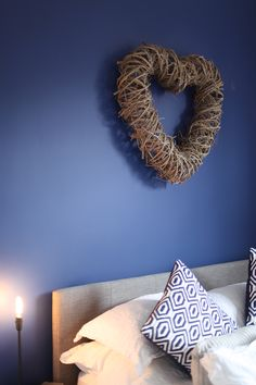 Sapphire Salute Dulux for this bedroom feature wall, worked perfectly with #Dulux Grey Wisp for the woodwork #henryfix