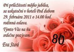 Pozvánka na oslavu jubilea - JU025