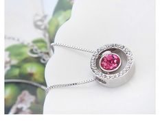 Round Pink Crystal From SWAROVSKI Pendant Necklaces For Women