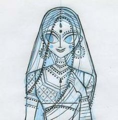 Sketch of Sita devi by illustrator Sanjay Patel for his book, Ramayana: A Divine Loophole www.gheehappy.com