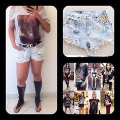 Jeans short + gladiadora