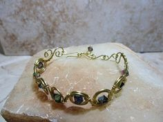 Gold Bracelet With Rainbow Colored Crystals handmade wire