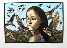 Theo Paul Vorster, Girl with Swallows, lino Contemporary Printmaking, Stippling Art, Linocut Prints, Bird Art, Altered Art, Art Images, Cool Art, Fine Art Prints, Illustration Art