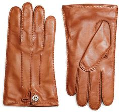 Brooks Brothers Cognac Gloves with Button Closure on shopstyle.com