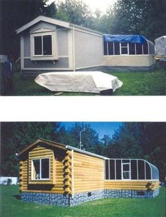 151 best turning a modular or manufactured home into a log cabin rh pinterest com