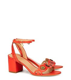 MARGUERITE PERFORATED SANDAL in samba (orange ankle strap block heel scallop) $325 | Tory Burch