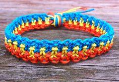 Macramé Hemp Bracelet  Orange Yellow and Blue by hempkitty on Etsy, $7.00